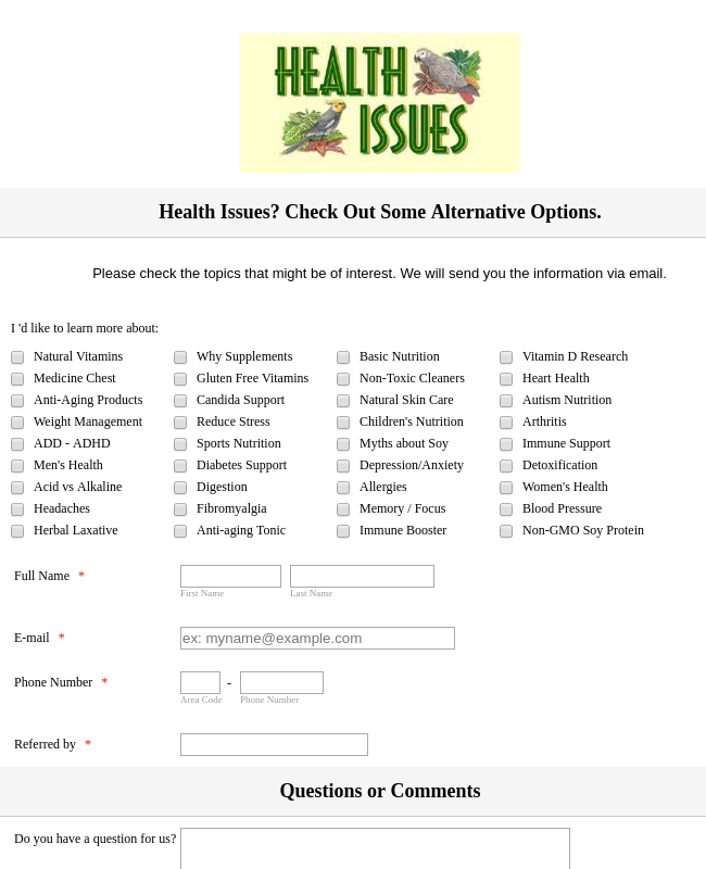 Health Issues Interest Form
