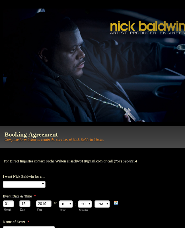 Nick Baldwin Booking Form