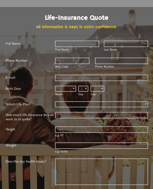 Fullscreen Life-Insurance Quote Form