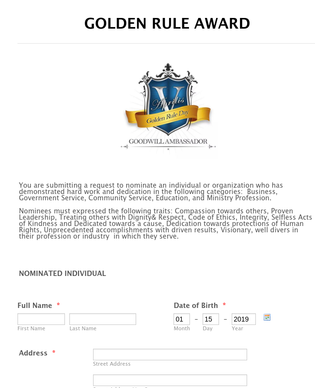 Golden Rule Award Nomination Form
