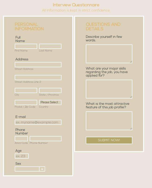 Responsive Interview Questionnaire Form