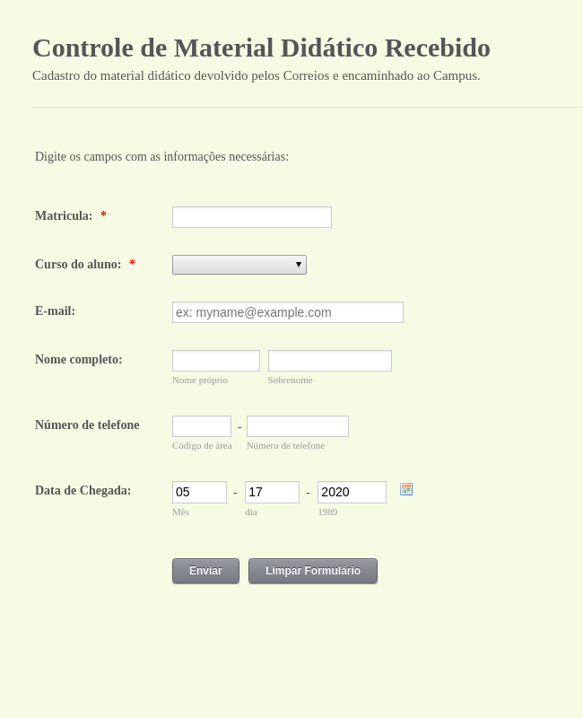 Control Form for Received Didactic Material in Portuguese