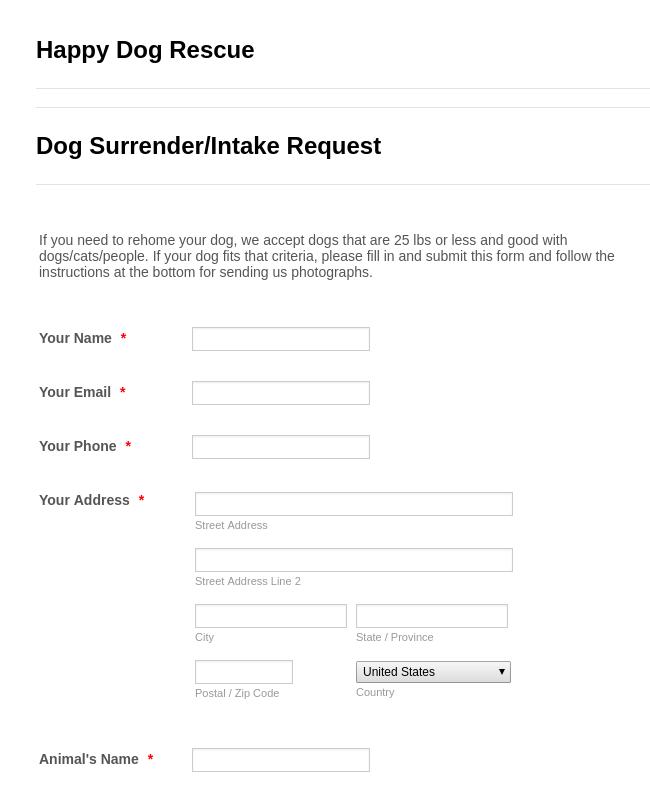 Animal Surrender/Intake Request