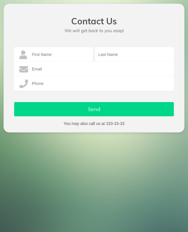 Lime Theme Contact Us Form