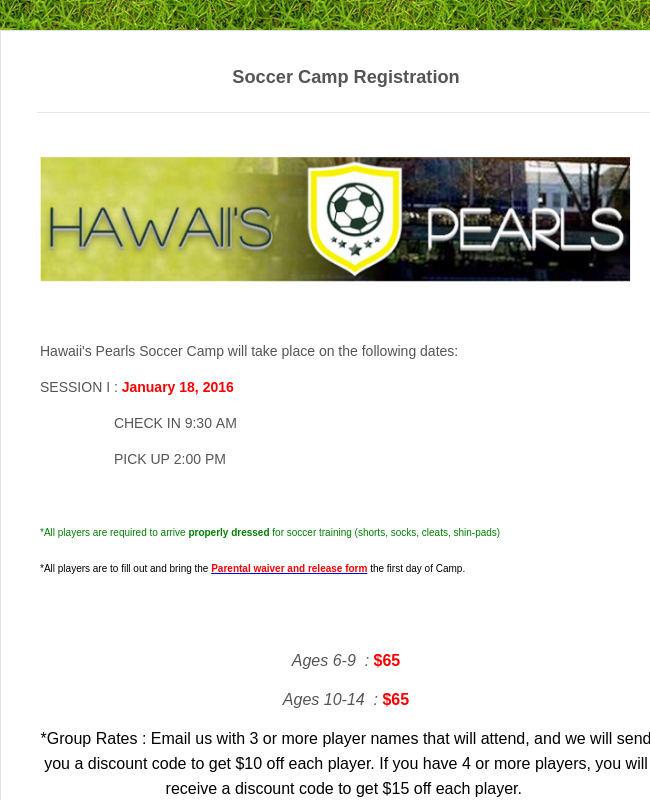 Sports Summer Camp Registration Form