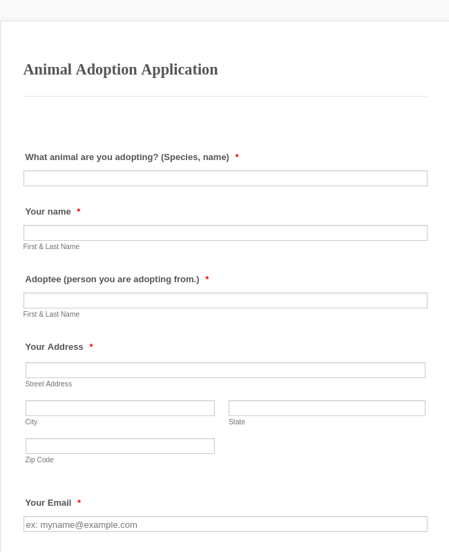 Animal Adoption Application ARP