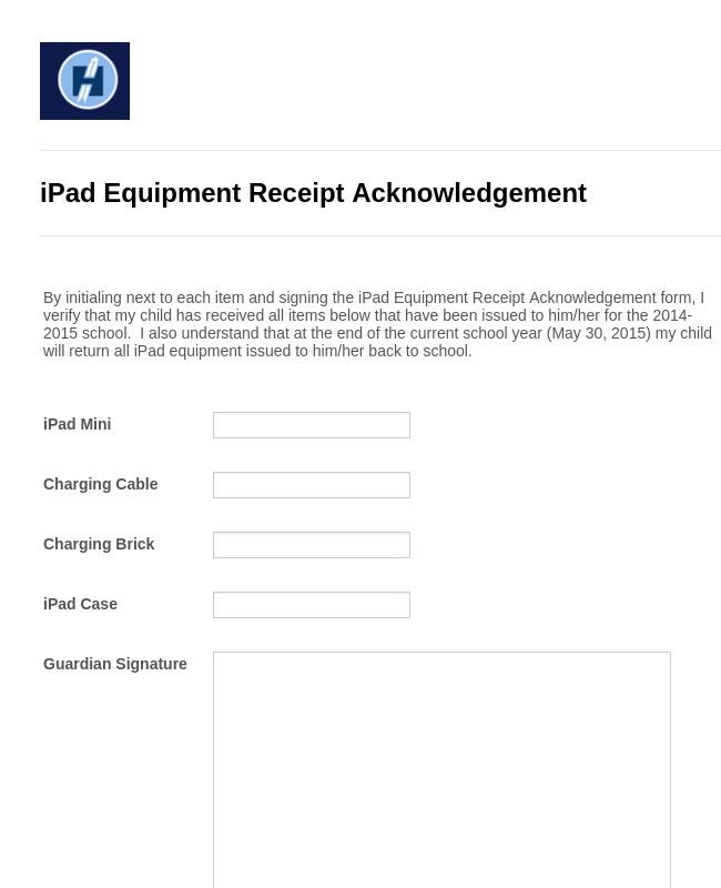 iPad Equipment Receipt Acknowledgement