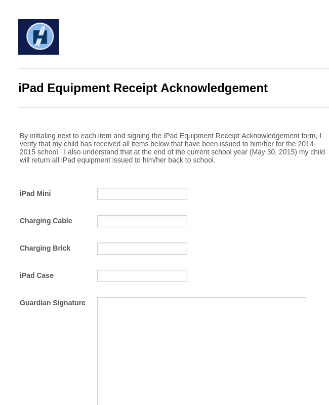 iPad Equipment Receipt Acknowledgement