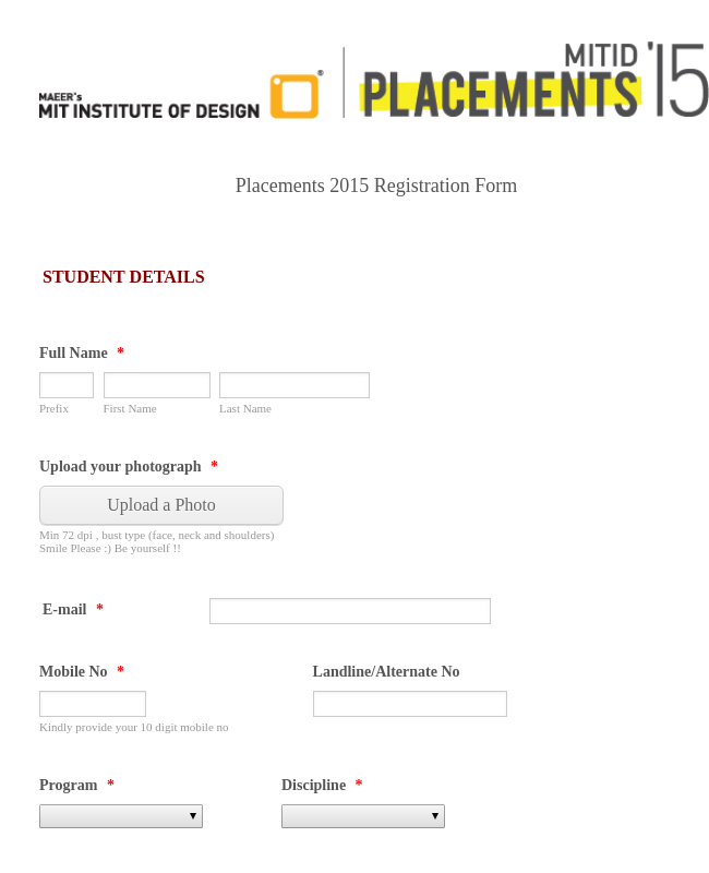 Placements Registration Form