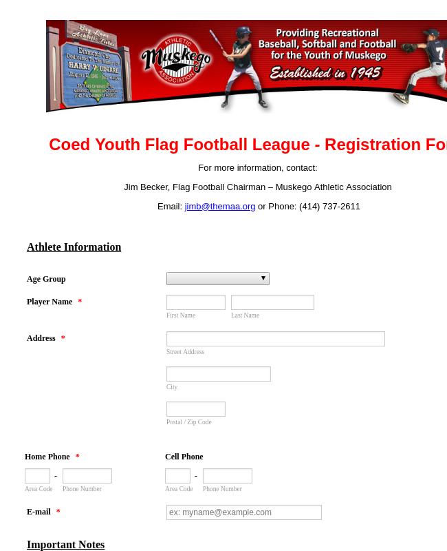 MAA Flag Registration Form