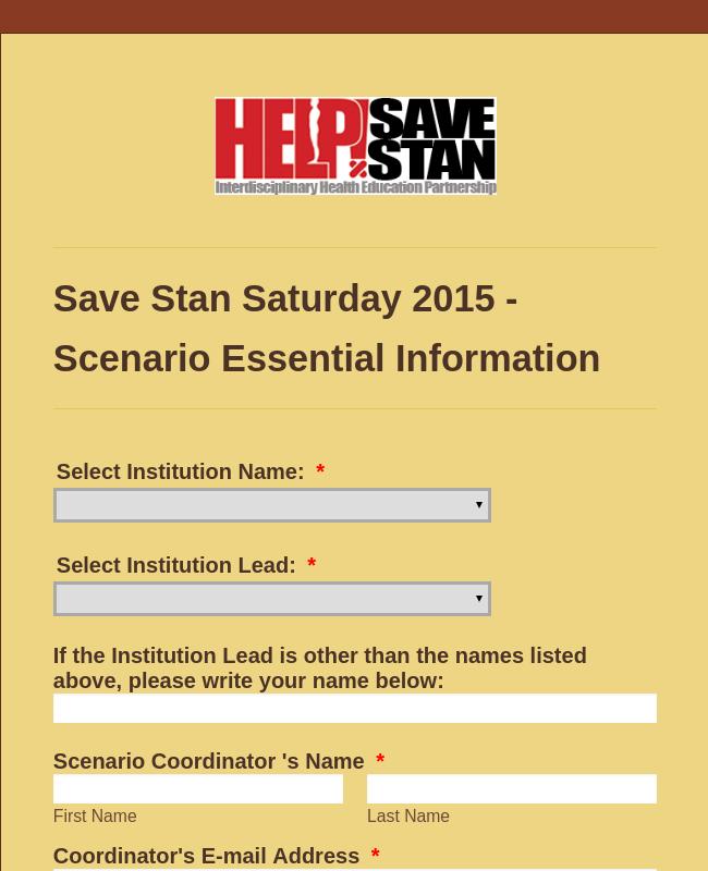 SSS Scenario VItal Information Form