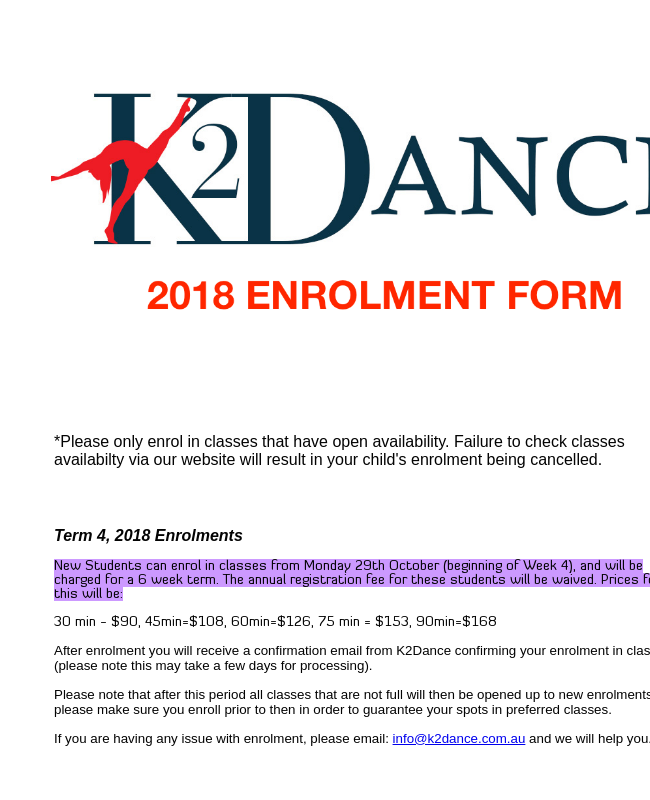 Enrolment Form Dance