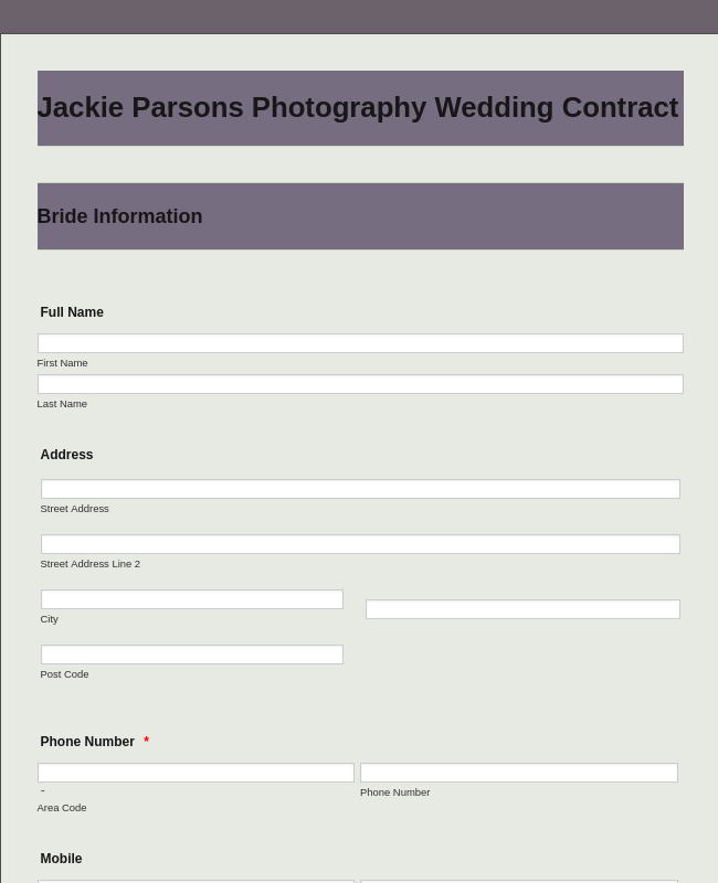 General Photography Wedding Contract