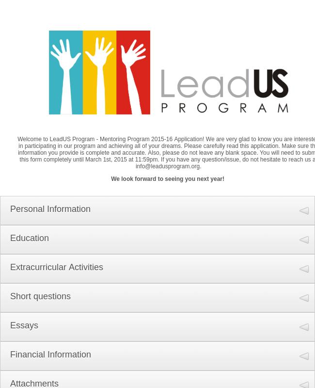 Mentoring Program Application Form