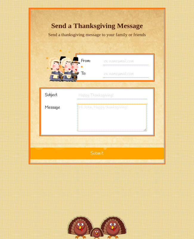 Thanksgiving Send a Message Form