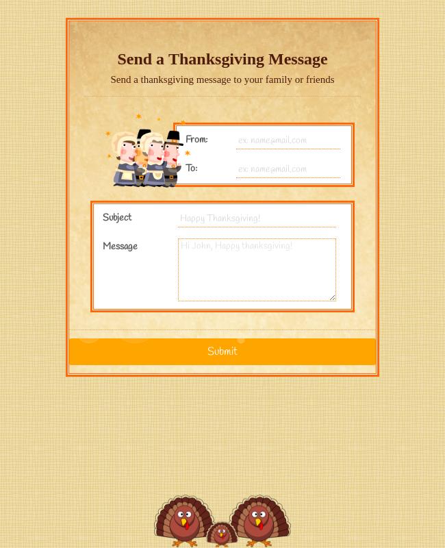 Thanksgiving Send A Message Form