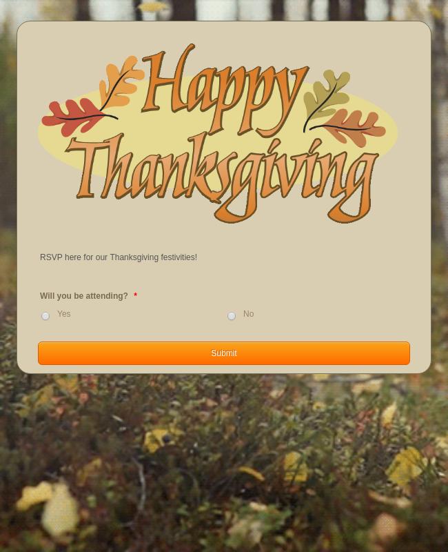 Thanksgiving Dinner RSVP