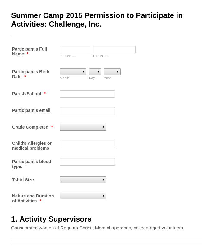 Challenge Summer Camp Permission Form