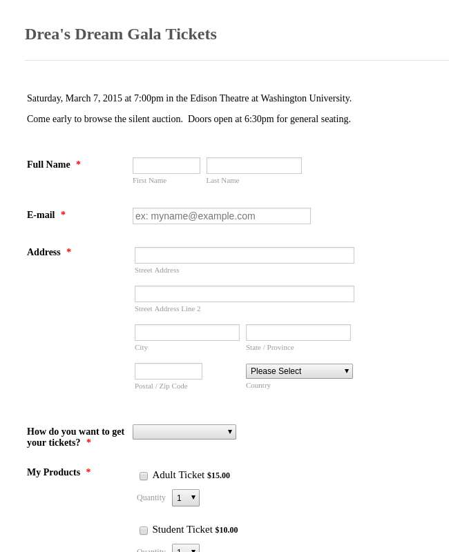 Concert Ticket Order Form