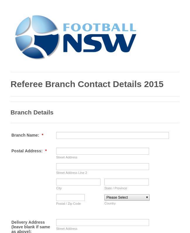 Referee Branch Contact Details 2015