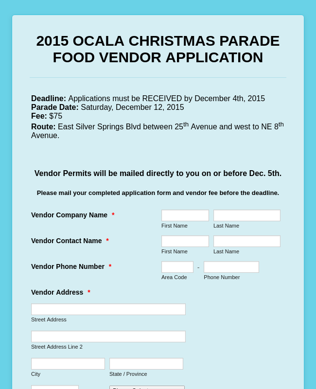 Food Vendor Application Form