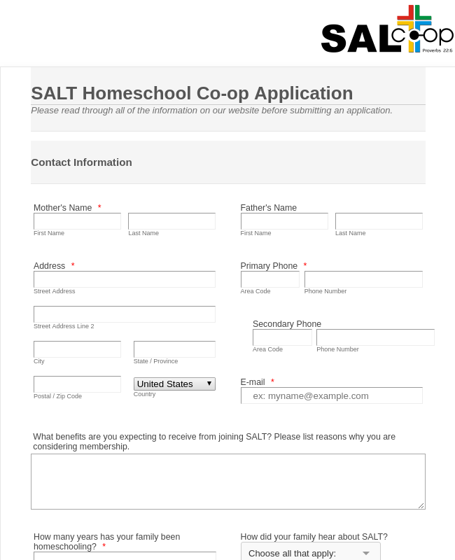 Religious Co-op Application Form