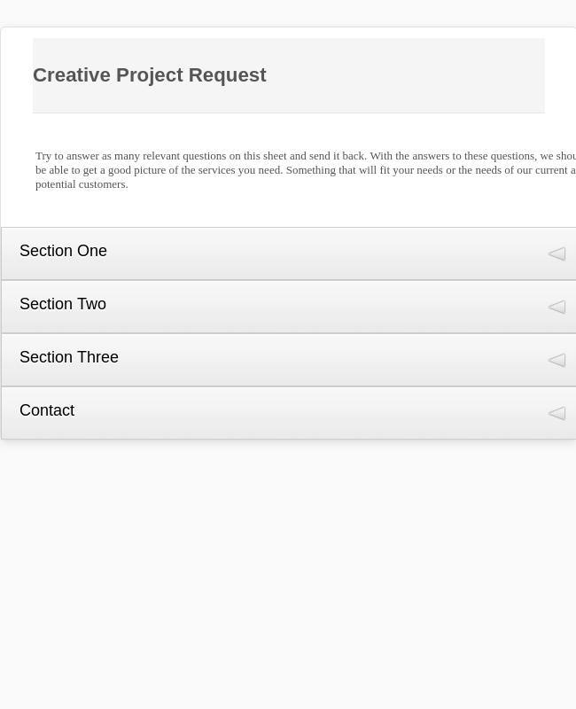 Creative Project Request Form