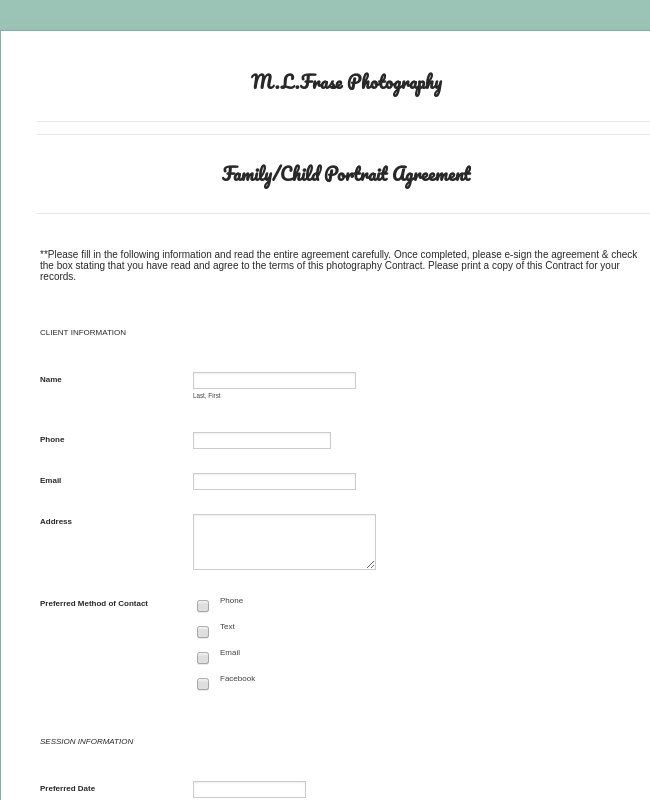 Family/Child Photography Contract