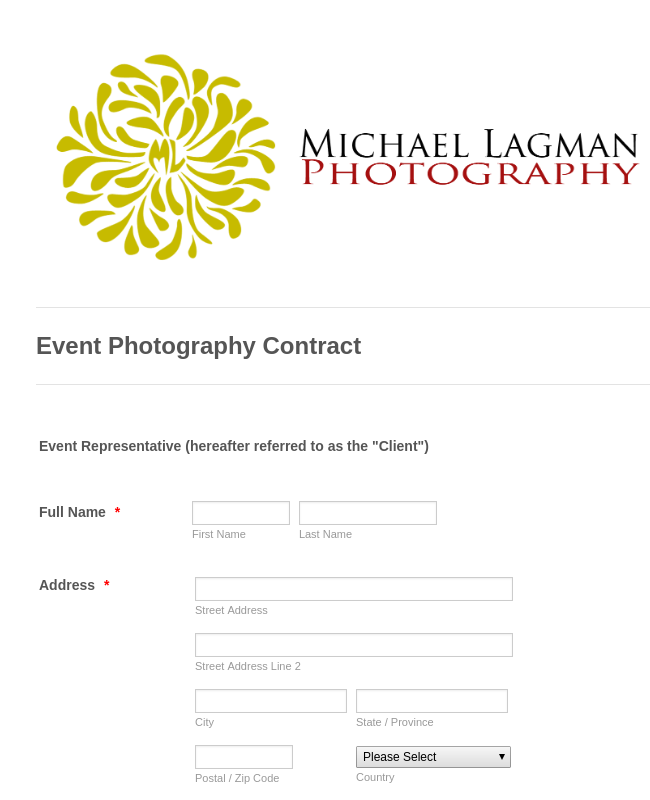 Event Photography Contract