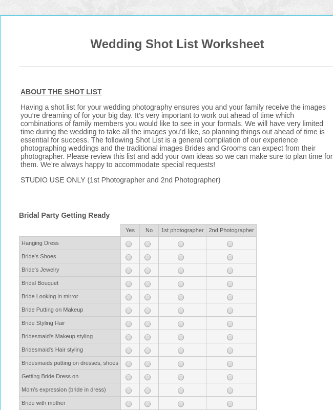 Wedding Family Shots List Examples: Wedding Shot List Worksheet Form Template
