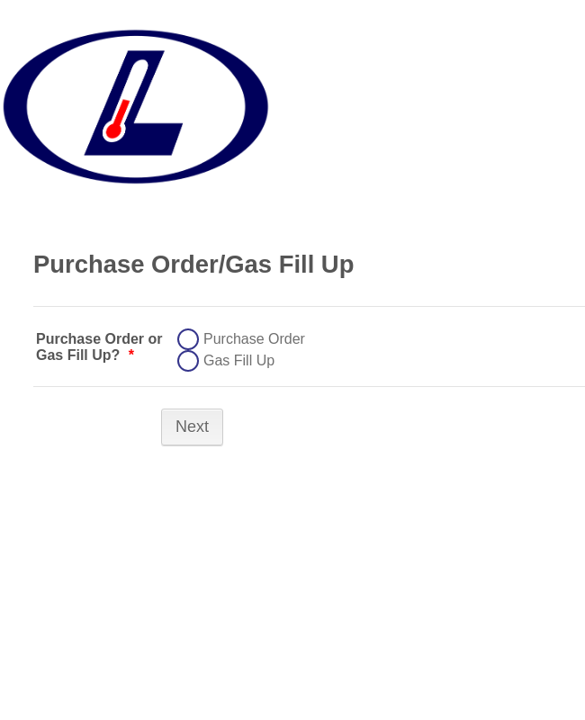 Purchase Order - Gas Fill Up