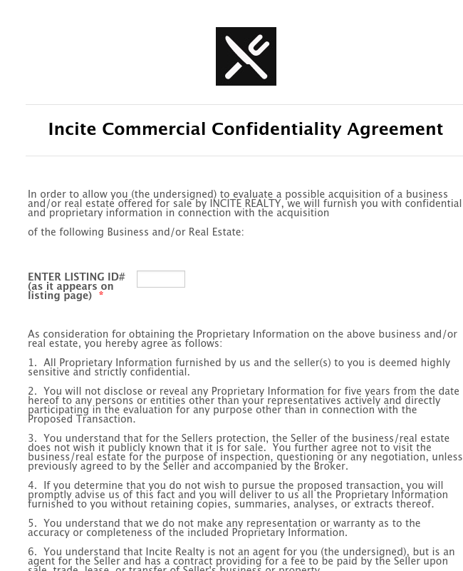 Commercial Confidentiality Agreement