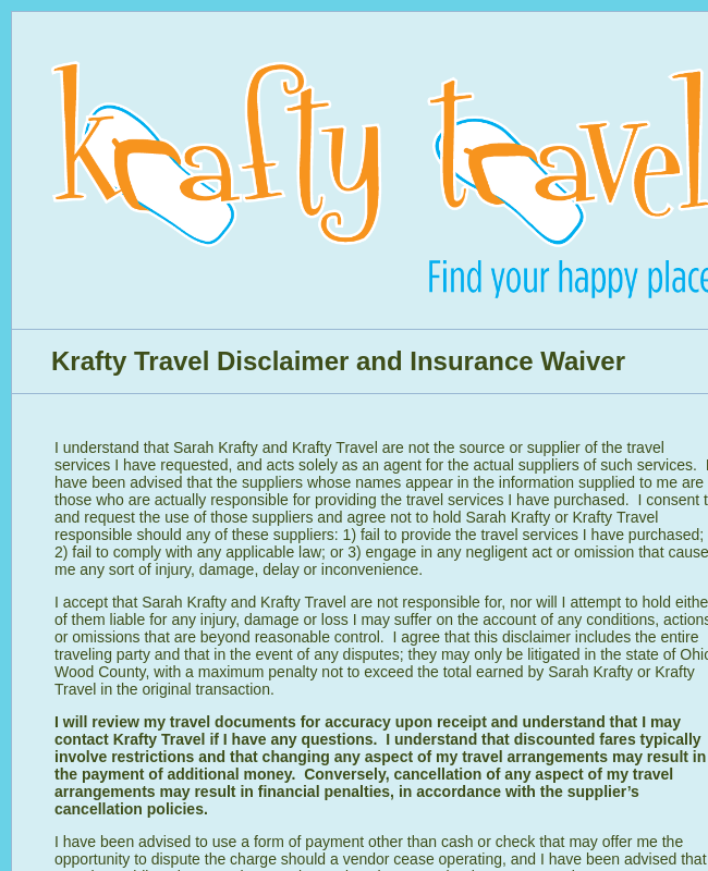 Travel Disclaimer and Insurance Waiver