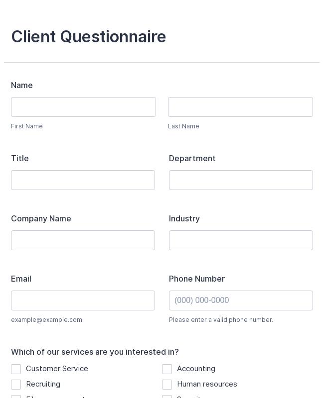 Client Questionnaire