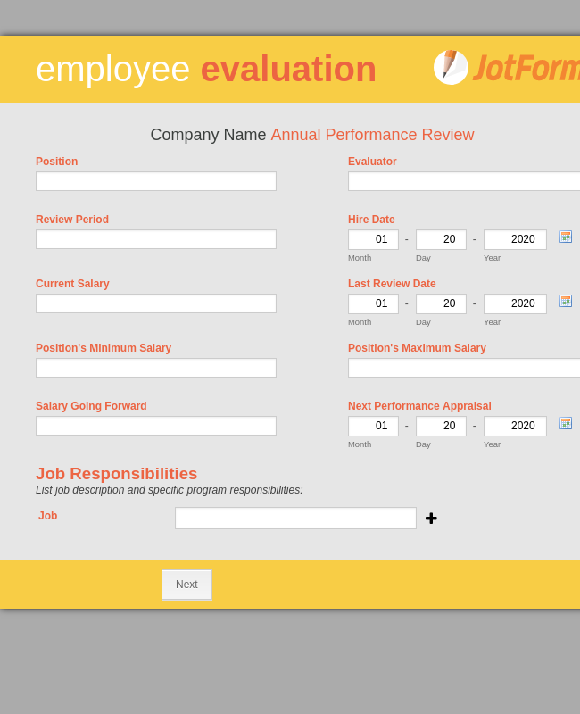 Multi Page Employee Evaluation Form