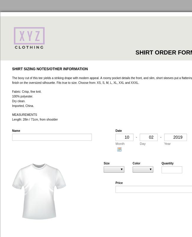 Shirt Order Form