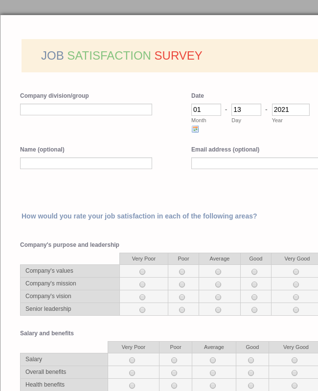 Job Satisfaction Survey