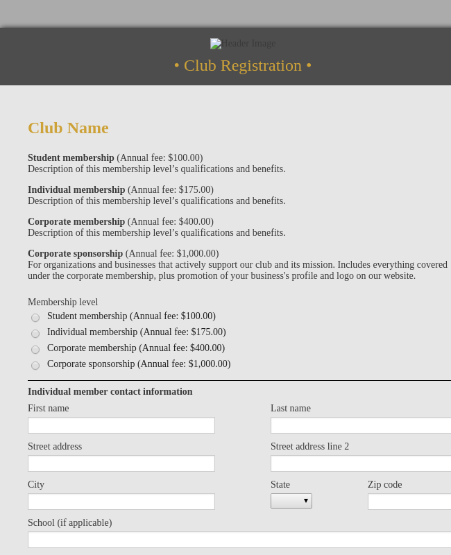 Club Registration