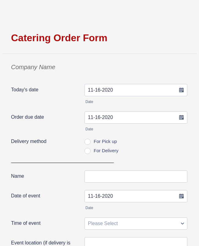 Catering Order Form