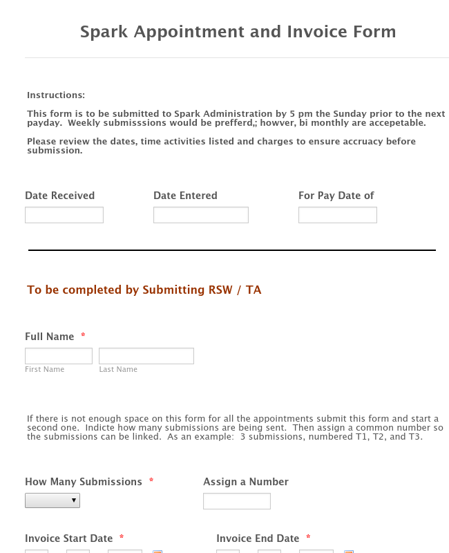 Spark Appointment and Invoice Form