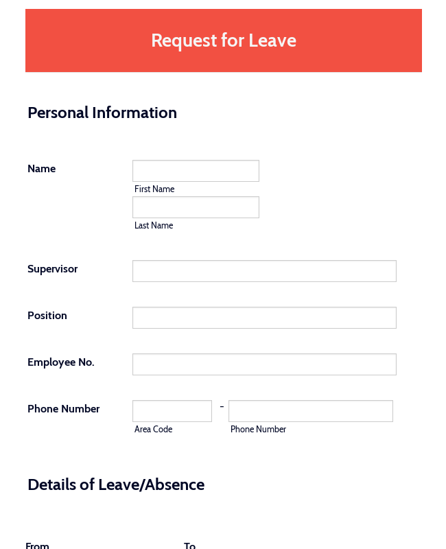 Request For Leave Of Absence