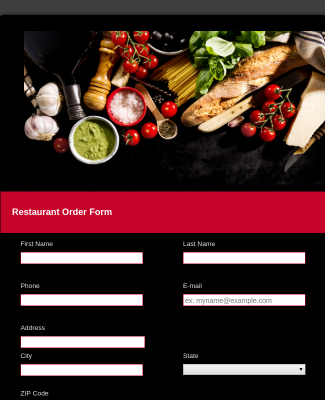 Restaurant Order Form