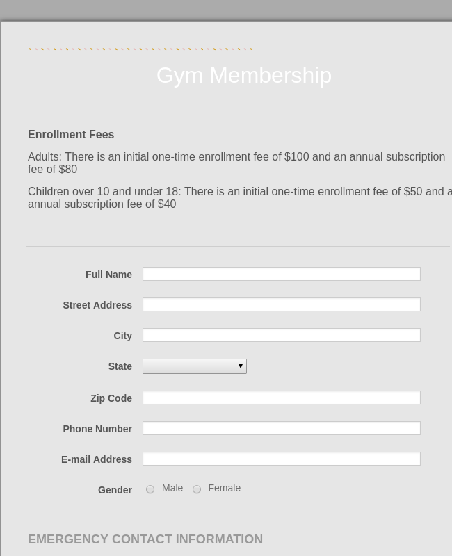 Gym Membership Form