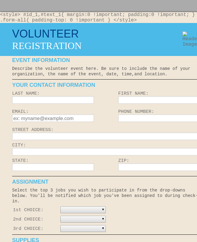 Volunteer Enrollment