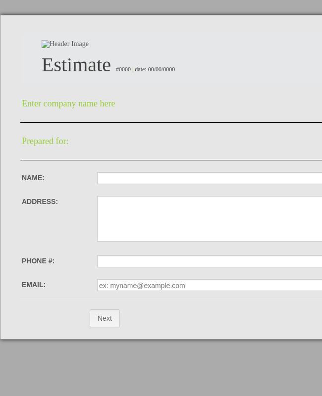 Service Estimate Form