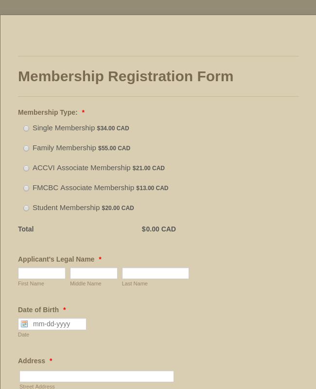 Membership Form Hiking Club