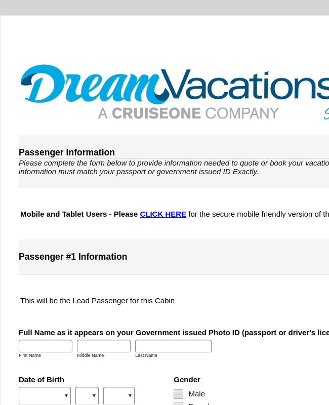 CruiseOne Passenger Information Form