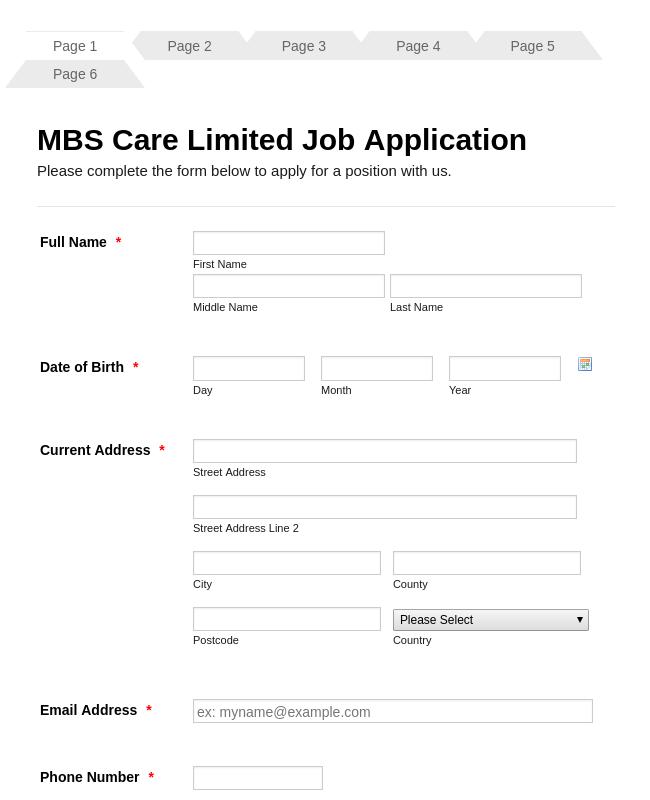 Nursing Home- Care Giver Job Application Form