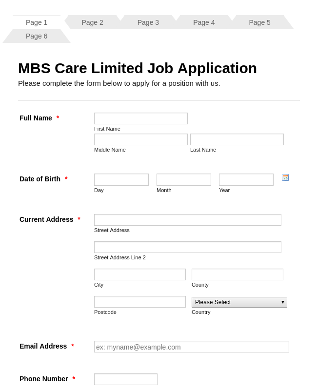 Nursing Home- Care Giver Job Application Form