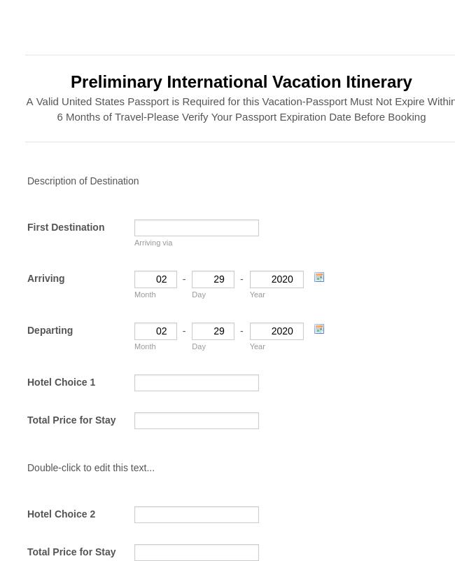 Preliminary Vacation Itinerary